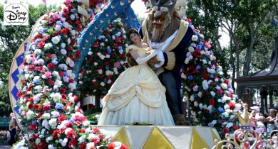 Bell and Beast lead the Festival of Fantasy Parade.