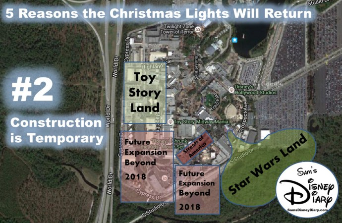 Why the Christmas Lights will be back at Hollywood Studios Reason #2: Construction is Temporary