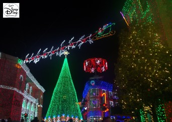 Santa high above the Osborne Spectacle of Dancing Lights