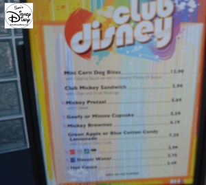 The Club Disney Snack List - the Snack Counters only lasted about a month before being removed.