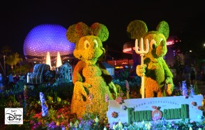 Epcot Flower and Garden Festival - Mickey and Minnie Topiaries at night