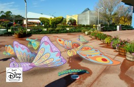 The 2017 Epcot International Flower and Garden Festival - One of the new Gardenscape photo opportunities. Those butterflies are on the ground.