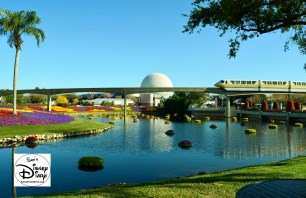 The 2017 Epcot International Flower and Garden Festival - Festival Blooms and a passing monorail