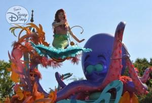 Ariel, atop the Sebastian's Calypso Carnival Float during Mickey's Soundsational Parade