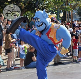"Disneyland Soundsational Parade - Genie leads the ""Aladdin's Magical Cymbal Celebration"" Parade unit"