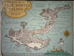 Disneyland Park Tom Sawyer Island - From D23 Expo 2017 Maps of the Disney Parks and the book