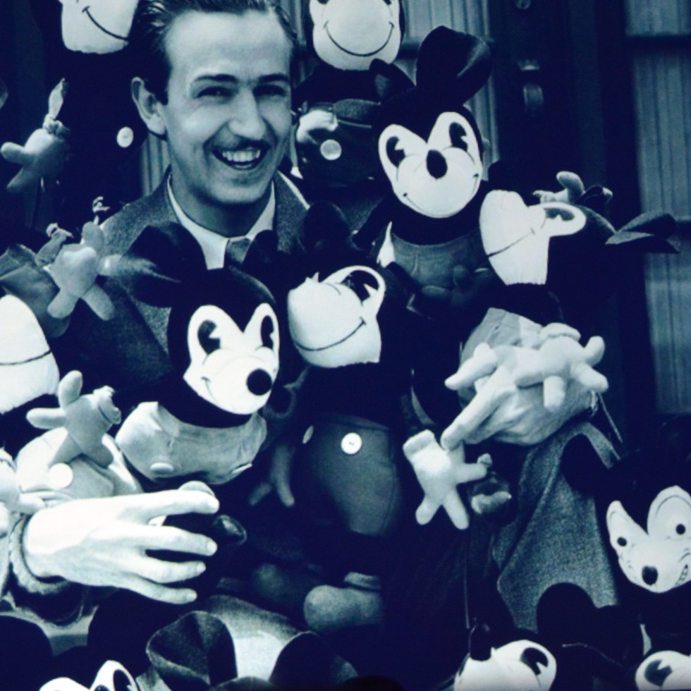 The Product Legacy Breakout at the D23 Expo 2017 highlights the history of Disney Merchandise. Walt with the the original mickey plush cira 1930