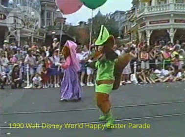 1990 Walt Disney World Happy Easter Parade - Main Street USA before the expansion of the Emporium when the side street was on both sides