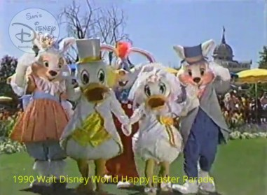 1990 Walt Disney World Happy Easter Parade - Rodger Rabbit gets a prime spot with the Easter Bunny Donald and daisy,
