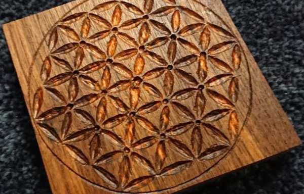 手工木雕生命之花水晶盤(需預訂)