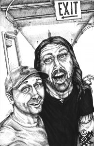 Dave Grohl & Andrew Black Ink Portrait
