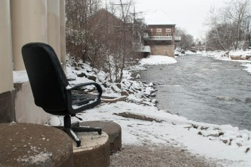 Who brought this chair to the riverfront, and why? More importantly, who would take the effort to bring a swivel chair to a riverbank and leave it? These questions shall forever remain a mystery.