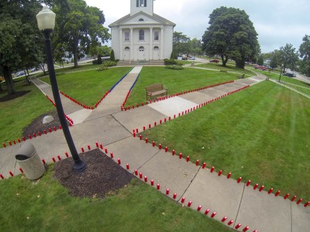 Hundreds of candles lined the walkways outside Tallmadge Church to commemorate those who died during the September 11th terrorist attacks.