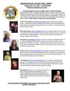 Roadhouse Storytellers Strong Women Telling Stories About Strong Women September 2018