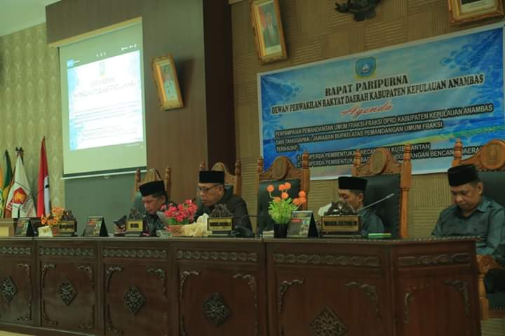 , 4 Fraksi DPRD Anambas Setujui Ranperda Pembentukan Kecamatan Kute Siantan Dan Ranperda BPBD, SamuderaKepri