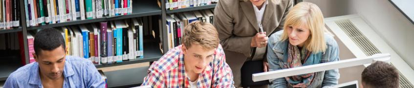 Students learning in library