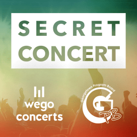 Social media post for a secret concert on campus, co-sponsored with WEGO Concerts, Spring 2016.