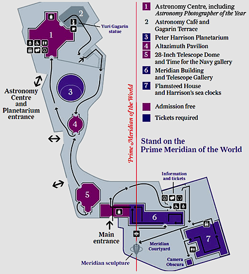 Map of the Prime Meridian at the Royal Observatory Greenwich (south is up)