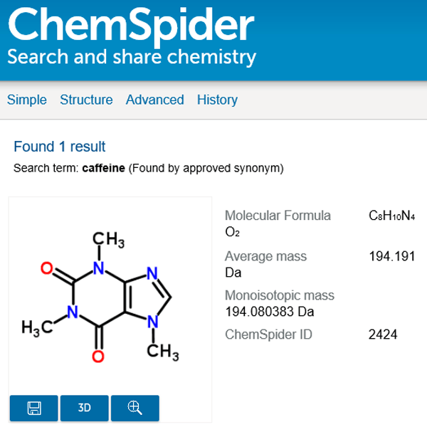 ChemSpider screenshot