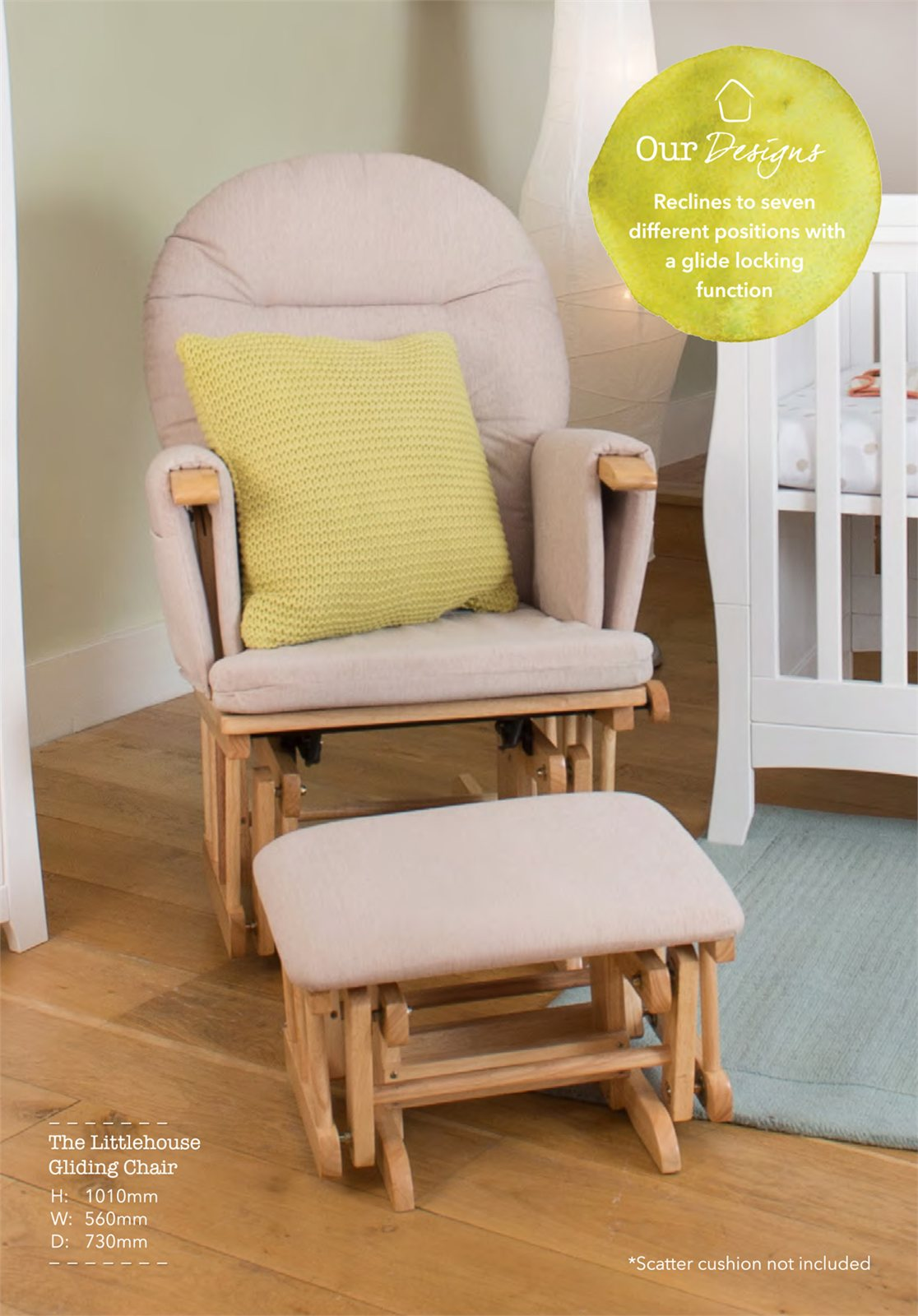 Gliding Chair Glider Chair With Footstool Natural