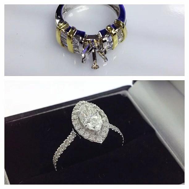 Redesign Marquise Diamond Halo Engagement Ring   Samuel Kleinberg