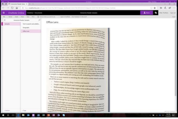 OneNote-Lens-OCR-Immserive Reader 1