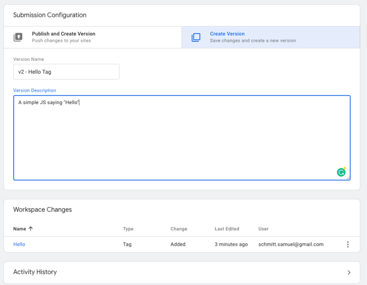 Create a new version of the workspace in Google Tag Manager.