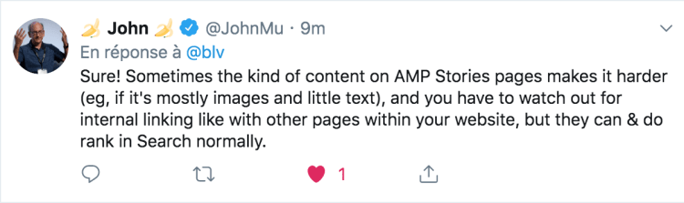 John Muller advising on SEO for AMP Stories