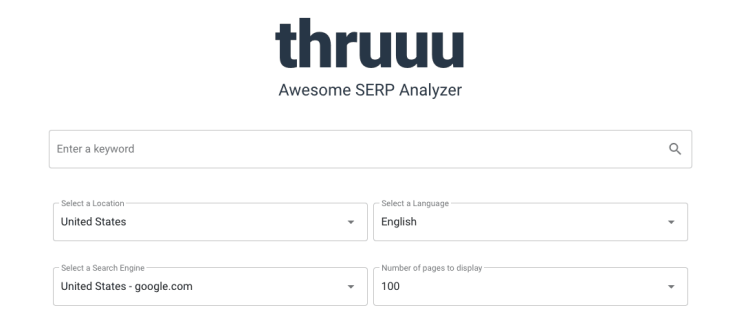 Analyze up to 100 pages from every location, language and search engine with thruuu - Free SEO tool