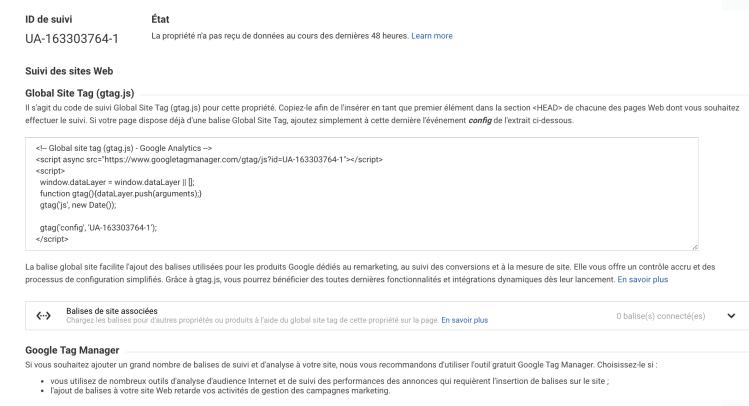 ID de suivi Google Analytics