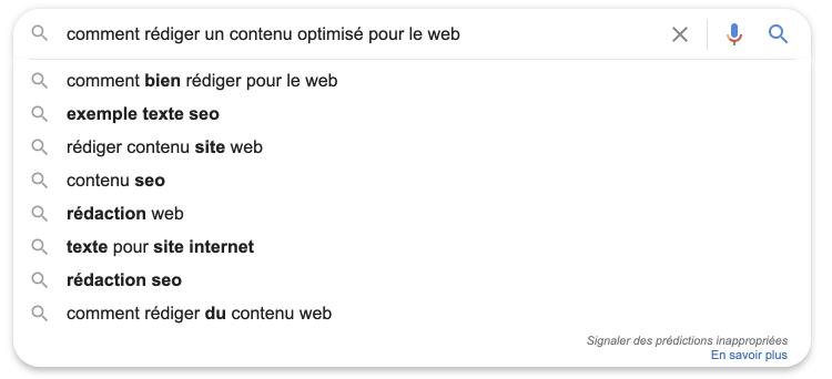 Google suggestion vous donne une idée des intentions de recherche