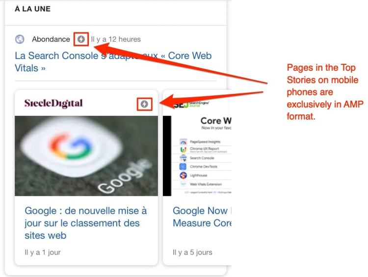 pages in the Top Stories on mobile phones are exclusively in AMP format.