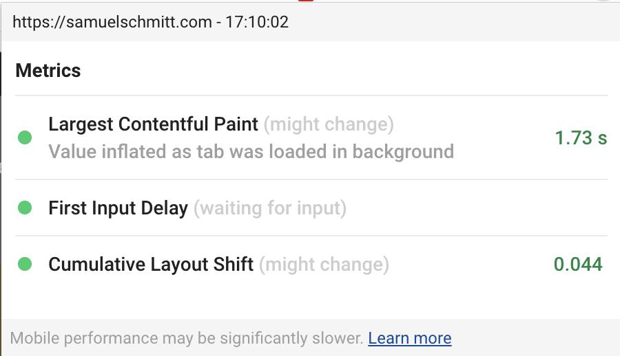 Web Vitals est une extension Chrome