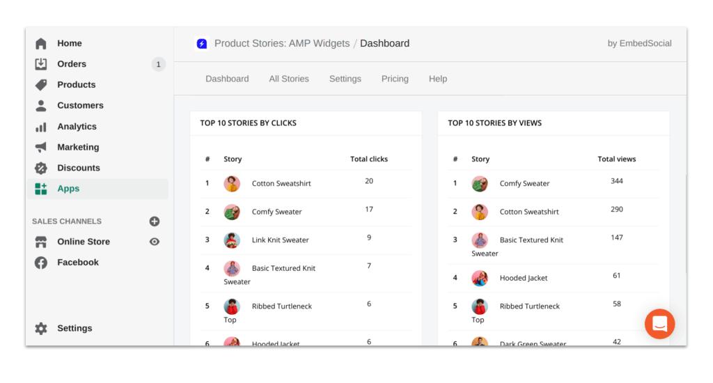 ProductStories - Dashboard