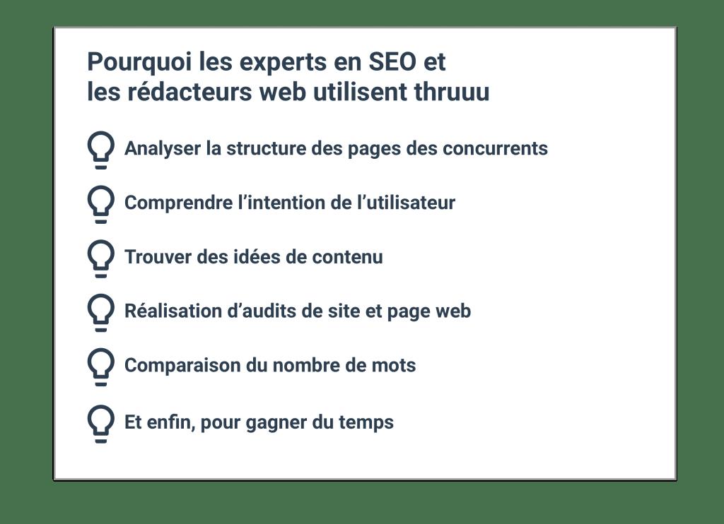 Pourquoi les experts en SEO et les rédacteurs web utilisent thruuu
