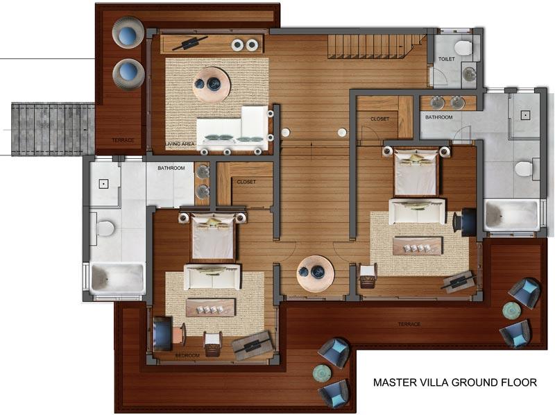 Samui Holiday Homes- Villa Riva Floor Plans, Koh Samui