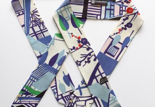 女子もSAMURAI 世界で1種 ヴィンテージ京友禅染縮緬リボンスカーフ 発売開始!