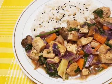 Tofu con salsa agridulce
