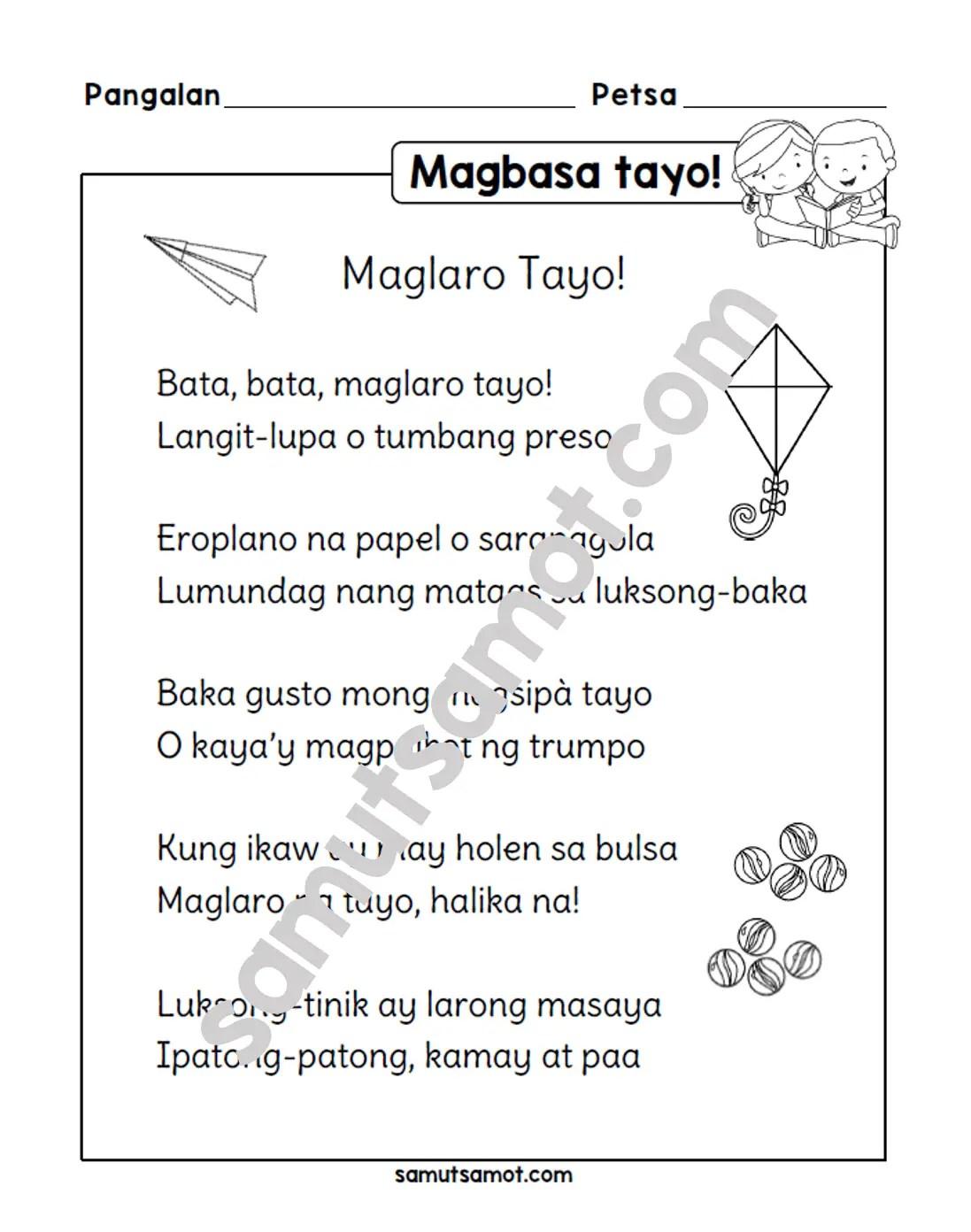 hight resolution of Tula: Maglaro Tayo! - Samut-samot