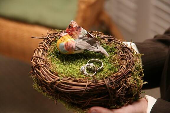 Bird nest ring bearer pillow