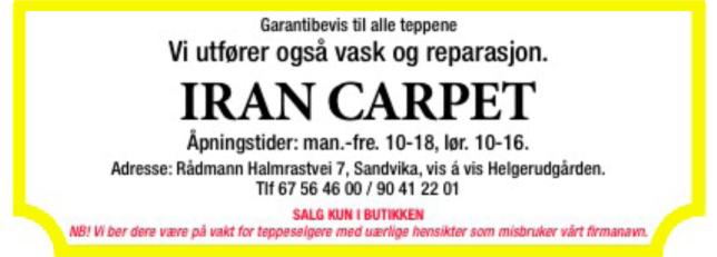 Annonse Iran Carpet