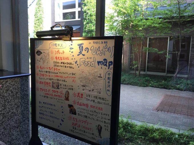 東急ハーベスト旧軽井沢の手書きの観光案内版