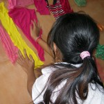 Girls at Somaly Mam Foundation creating crafts