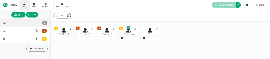 Picture showing group name being displayed on a student's icon