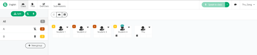 Picture illustrating the classroom view where a teacher can see all students inside a session