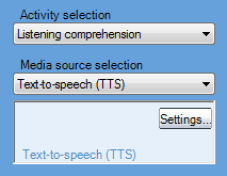 Picture showing how to select the Text-to-Speech (TTS) option from the Media source selection menu