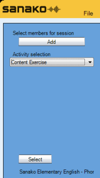 Picture illustrating how to choose Content Exercise from the Activity selection