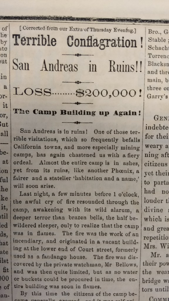 An article from the June 5, 1858 edition of the San Andreas Independent.