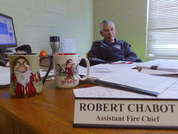 Assistant Chief Robert Chabot at his desk.