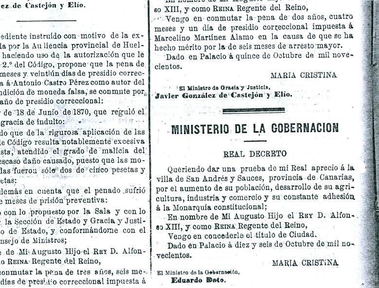Título de Ciudad. San Andrés y Sauces. Año 1900.